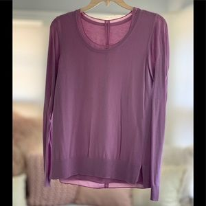 LOFT lilac lightweight layered sweater